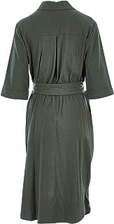 Belle Bird Womens Knee Length Dresses Belle Wooden Button Dress Khaki