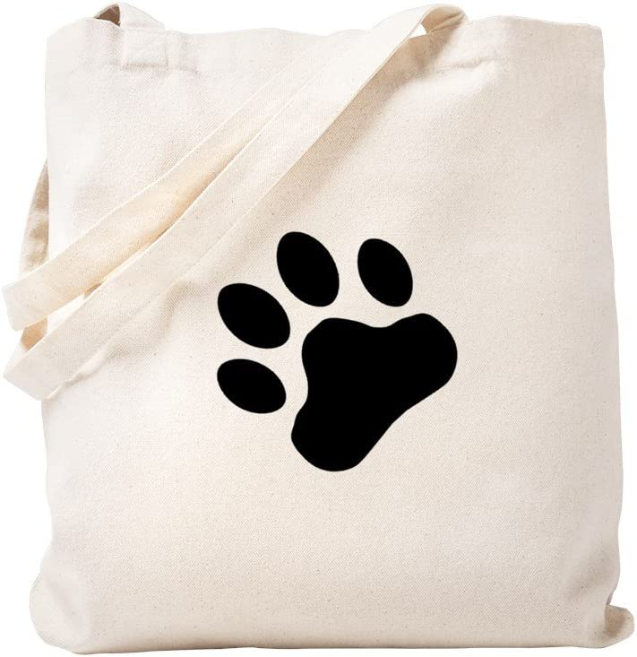 CafePress Paw Print Tote Bag Natural Canvas Tote Bag, Reusable Shopping Bag