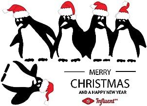 Kerst Pinguïns Koelkast Sticker Zwart zelfklevend Vinyl- A4 Maat - Art Decor/Muur Decor/Keuken Decal