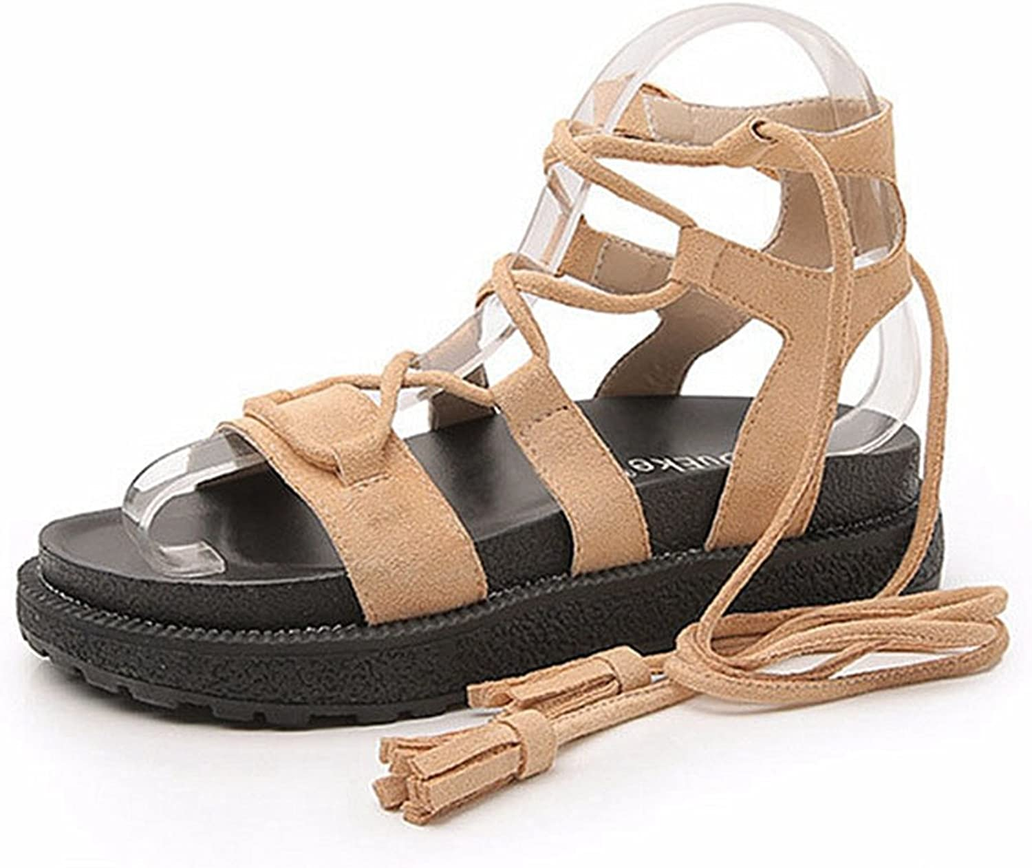 CYBLING Women Open Toe Strappy Flatform Flat Sandal Ankle Lace Up shoes Size