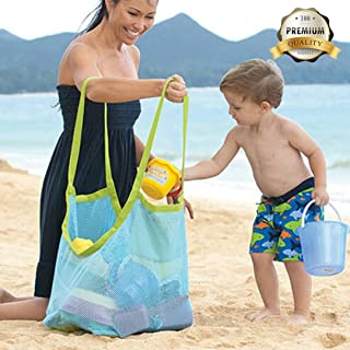 Satisfaction1 Large Portable Beach Mesh Toys Tote Bag Sturdy Blue Sand Backpack Can Put Childrens' Toys,Clothes,Towels,Groceries.Suitable for Beach,Pool,Boat