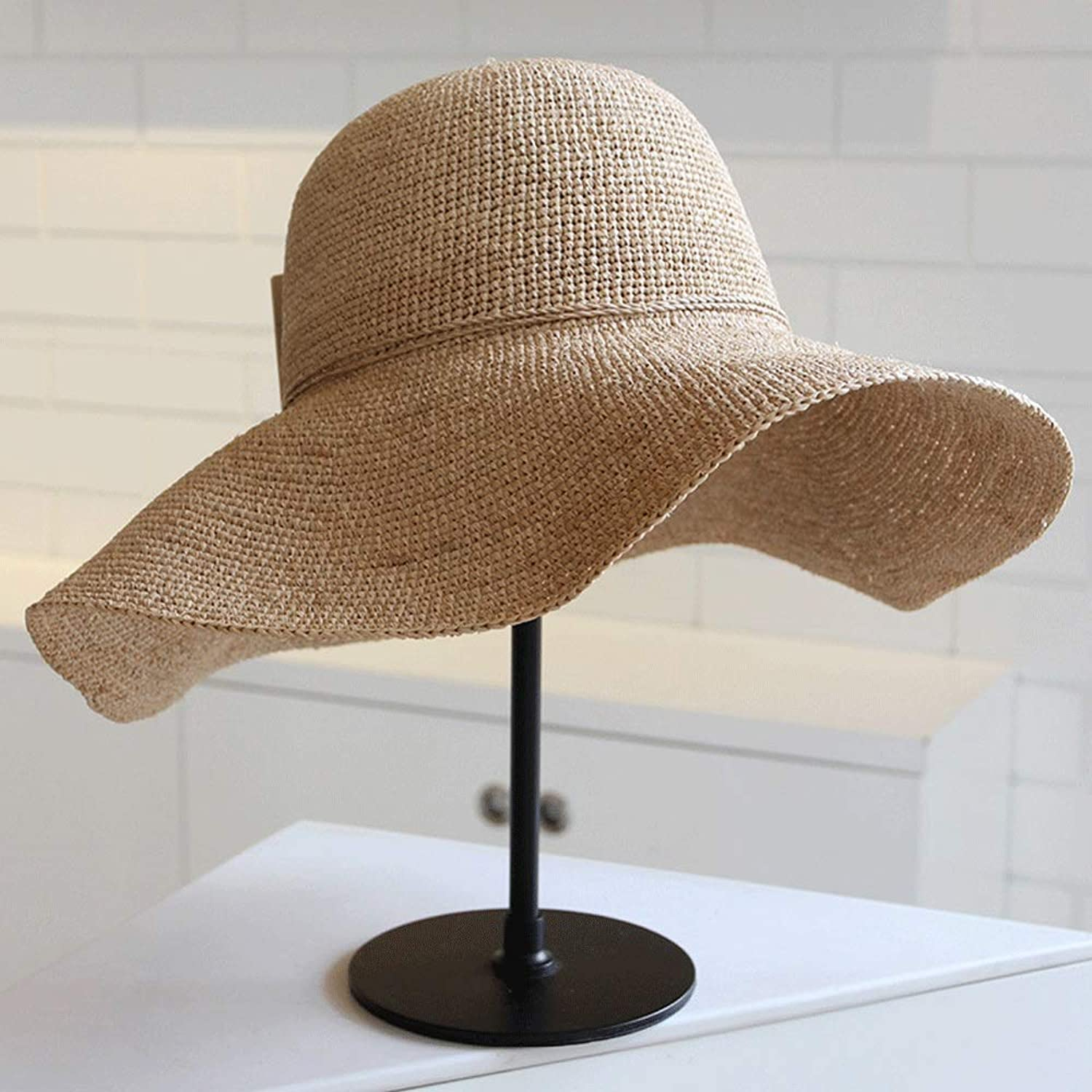 YD Hat - Women's Summer Sunshade Beach Hat Fashion Simple Straw Hat UV Predection Comfortable Breathable Folding Easy to Carry (Beige)    (Size   Hat Side  12 cm)