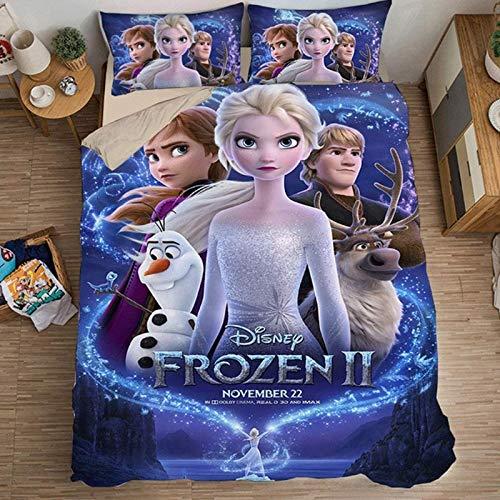 HGKY Anna Elsa & Olaf Kinder-Bettwäsche-Set, Disney Frozen Elsa Bettwäsche-Set, Mikrofaser Bettbezug und Kissenbezug, Bettbezug mit Reißverschluss (N, 135 x 200 cm)