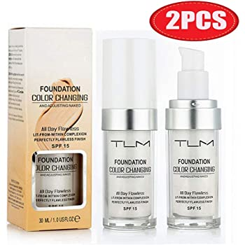 2PCS TLM Flawless Colour Changing Warm Skin Tone Foundation, Makeup Base Nude Face Liquid Cover Concealer (2 Pcs Foundation) (2 Pack Foundation)