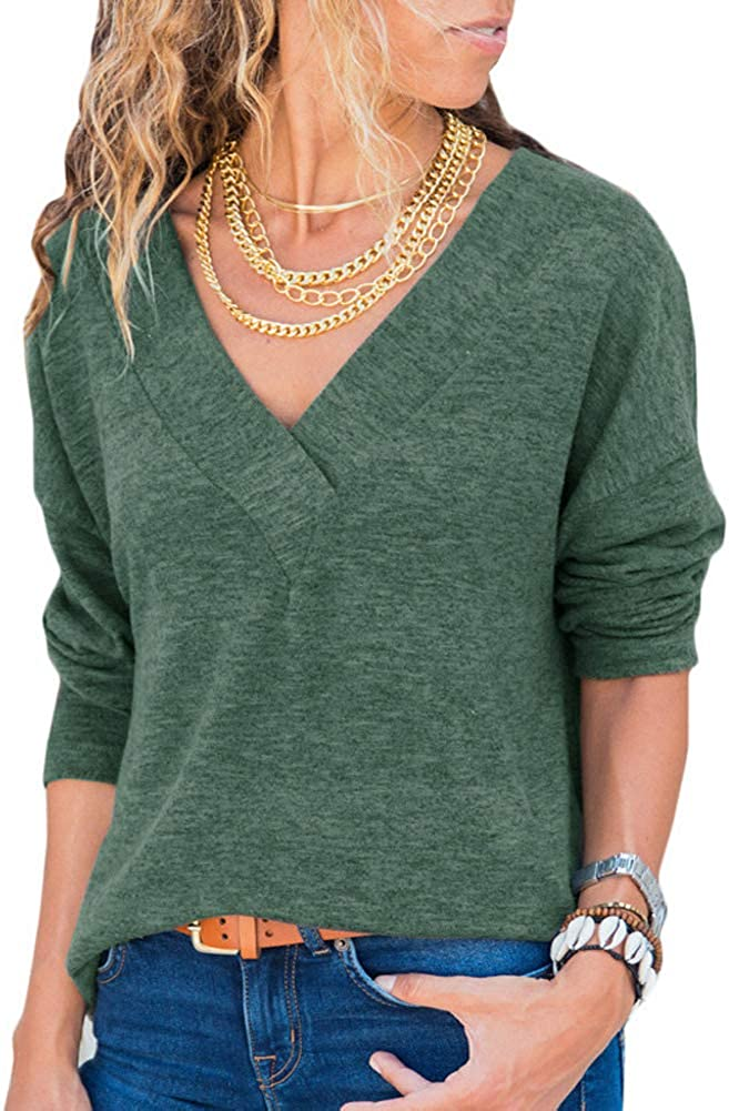 Tsun Luxury Women Casual Long Sleeve Wrap Shirt Max 75% OFF Blouse Solid Col V Neck