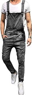 KUKU Men's Jeans Jumpsuits,Denim Bib Overalls,Slim Fit Ripped Denim Overalls Bib Dungarees Suspender Trousers Jumpsuits