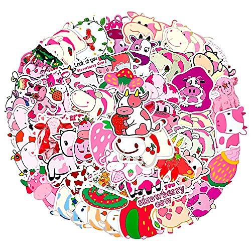 XIAMU Dibujos Animados Rosas Fresa Vaca Kawaii Pegatinas para refrigerador Motocicleta monopatines Juguete Juguete para niños 50 Piezas