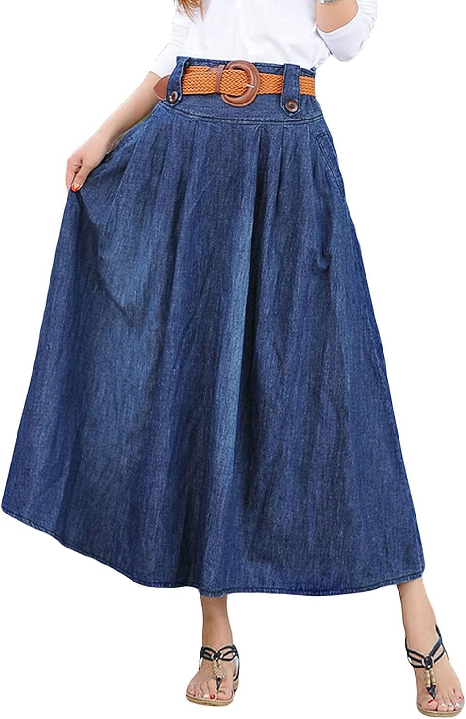 CHARTOU Women's Elastic High Waist Long Denim Pleated Skirt with Belt/Pockets