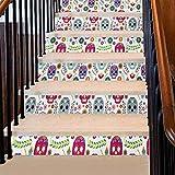 calcomanía decorativo para escaleras, diseño de triángulos y cuadrados, diseño de mayas antiguas con forma geométrica prehistórica, impresión 3D, ideal para escaleras de sótano cerradas, color...