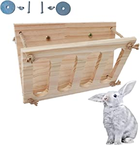 Tfwadmx Bunny Hay Feeder Rabbit Food Dispenser Wooden Hay Manger Rack Holder Minimizing Waste for Guinea Pig Chinchilla Hamster