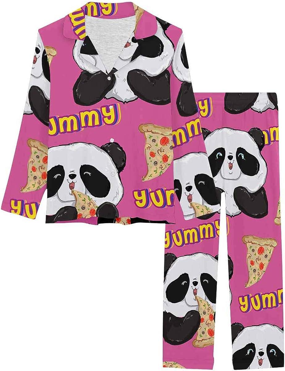 InterestPrint Notch Collar Loungewear Sleepwear Soft Nightwear for Women Panda with Pizza, Black and White Bear