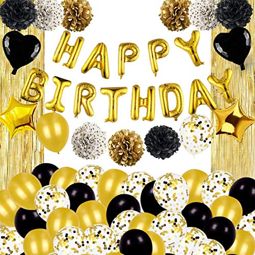 Birthday Party Decorations Kit, Black and Gold Birthday Supplies Set Happy Birthday Balloons Banner for Men Women Boy Girl