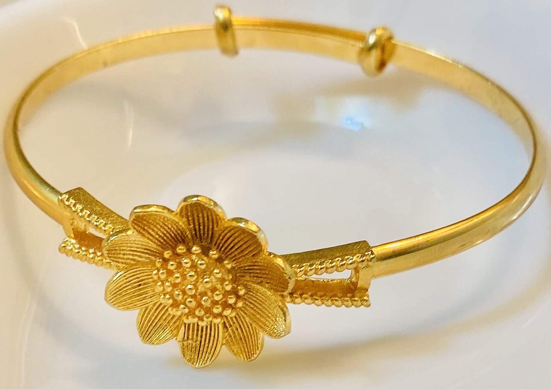Lochita Bangles - Ethlyn Jewelry Fashion Romantical Jewelry Dubai Gold Color Flower Pattern Adjustable Size Lady Charming Bangles B82