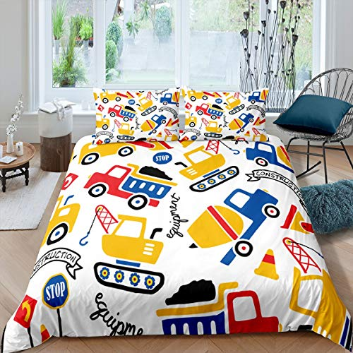 Cartoon Construction Excavator Duvet Cover Set for Kids Boys Girls Teens Vehicle Car Comforter Cover Construction Truck Bedding Set Child Quilt Cover Room Decor 3Pcs Bedclothes Double Size