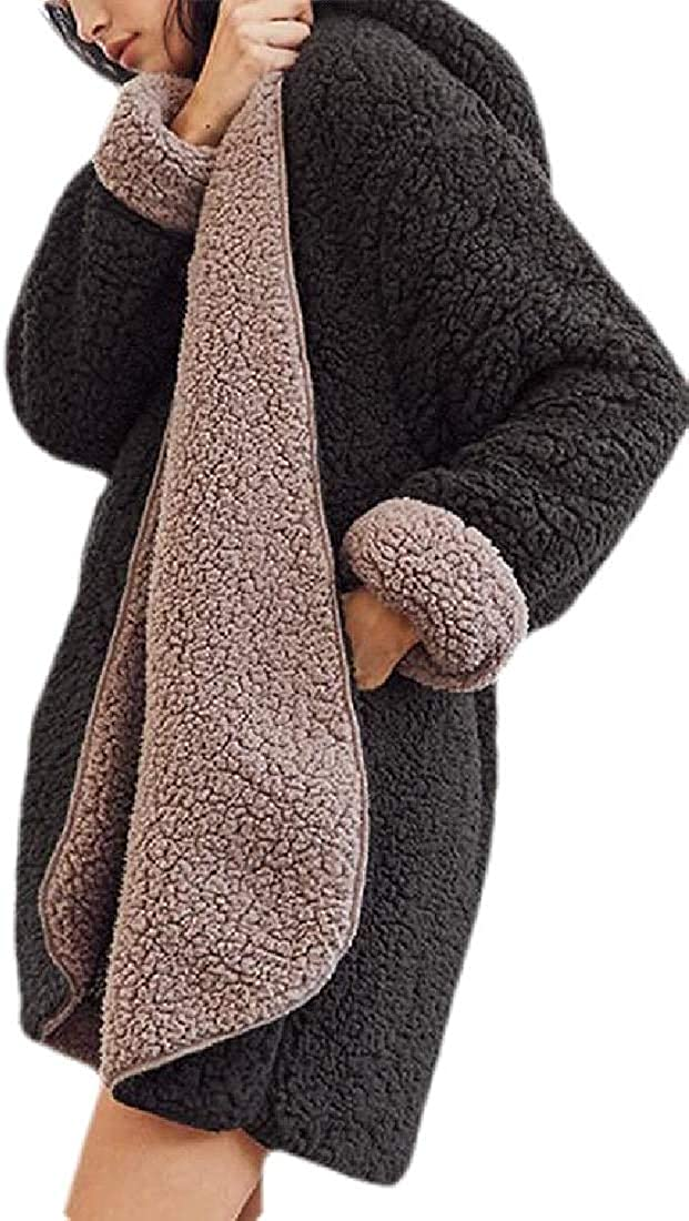 Yhsuk Women's Faux Fur Coats Jackets Hoodie Loose Lamb Wool Thick Outdoor Jacket Coat