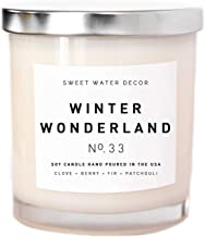 Winter Wonderland Candle Natural Soy Wax White Jar Silver Lid Scented Clove Cinnamon Berry Plum Fir Balsam Patchouli Holiday Christmas Home Decor For Her Made in USA Lead and Gluten Free Cotton Wick