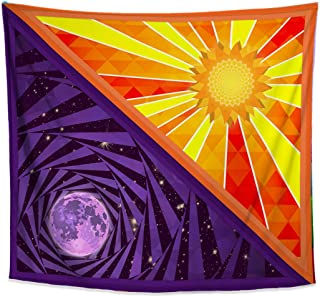 Lucid Eye Studios Sun and Moon Tapestry- Colorful Geometric Wall Art- Dorm Wall Hanging- Mandala Pattern- Cool Curtain- 58 x 51 inches