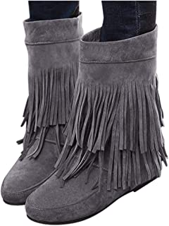 Women's Fringed Boots Dainzuy Fashion Increased Flat Bottom Wedges Mid Calf Boot Boots Suede Ankle Booties