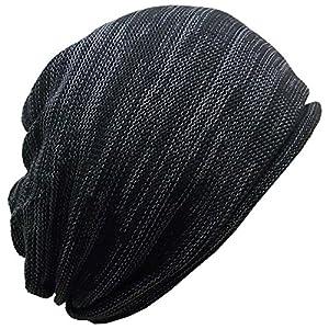 (ディグズハット)DIGZHAT サマーコットンニットキャップ 薄手 サイズ展開 (M, 黒xチャコールグレー)
