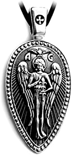 VENICEBEE Archangel ST.Gabriel Protect US Prayer Medal Solid Sterling Silver Pendant Necklace