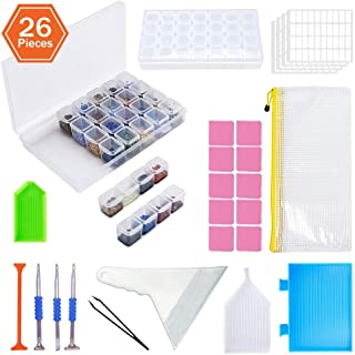 KOTWDQ 26 Pieces 5D Diamond Painting Tools and Accessories Cross Stitch Kits with Diamond Painting Fix Tools and 2pack 28 ...