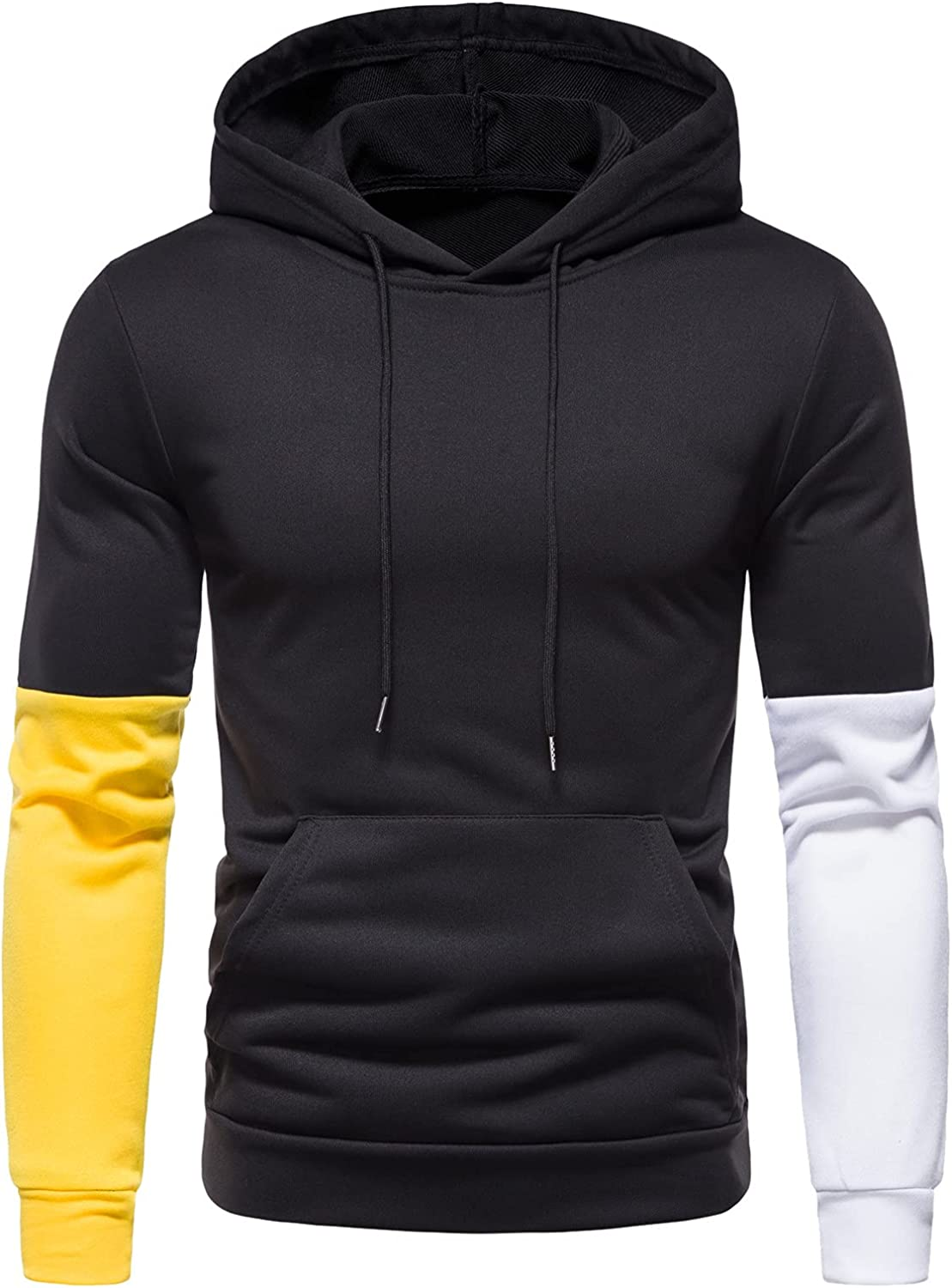 XXBR Hoodies for Mens, Fall Color Block Patchwork Pullover Workout Sports Drawstring Casual Hooded Sweatshirts Tops