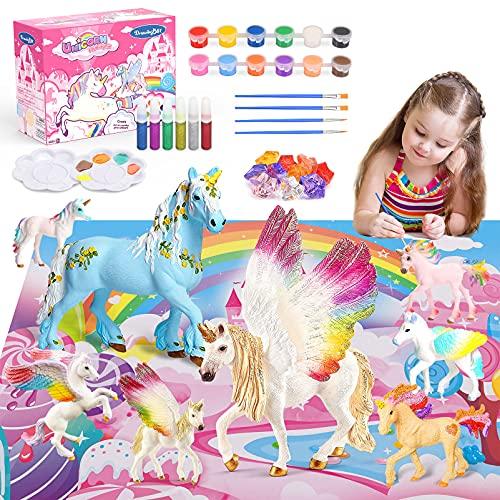 Toy zee Geschenk Mädchen 3 4 5 6 7 8 Jahre, Bastelset Kinder Einhorn Geschenke für Mädchen Spielzeug 3-10 Jahre Jungen Bemalen Set Kinder Geburtstagsgeschenke für Mädchen 3-10 Jahre