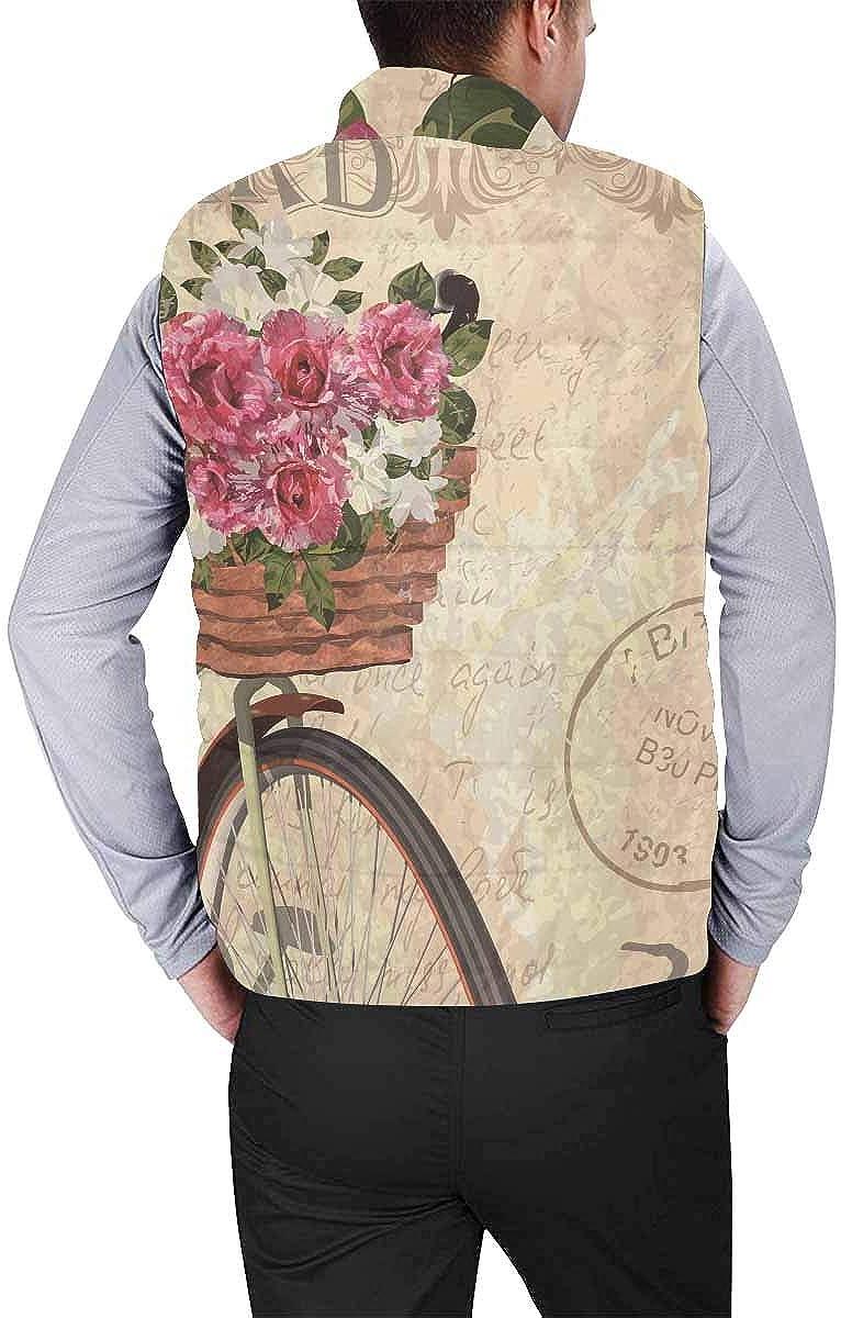 InterestPrint Men's Breathable Sleeveless Coat for Climbing Vintage Poppy Flowers Postal Stamps