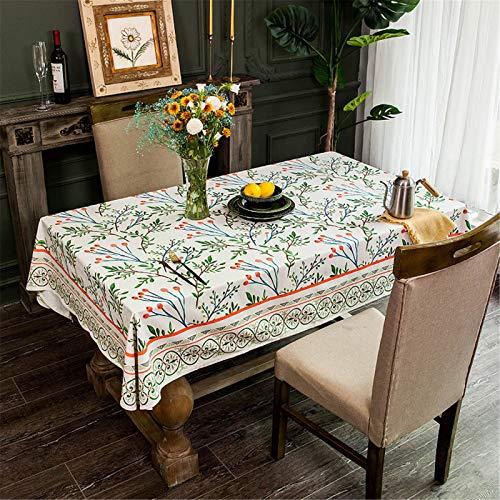 CCBAO Pastoral Lange Flanell Tischdecke Stoff Künstler Tischdecke Rechteckige Tischdecke Wohnzimmer Couchtisch Tischdecke 140x140cm