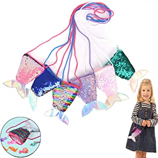 SUSHAFEN 6Pcs Mermaid Tail Purse Bags Pouch Sequins Coin Wallet Bag Glitter Girls Crossbody Bags for Money Change Card Candy Holder Novelty Girls Gift Bags Mermaid Party Supplies