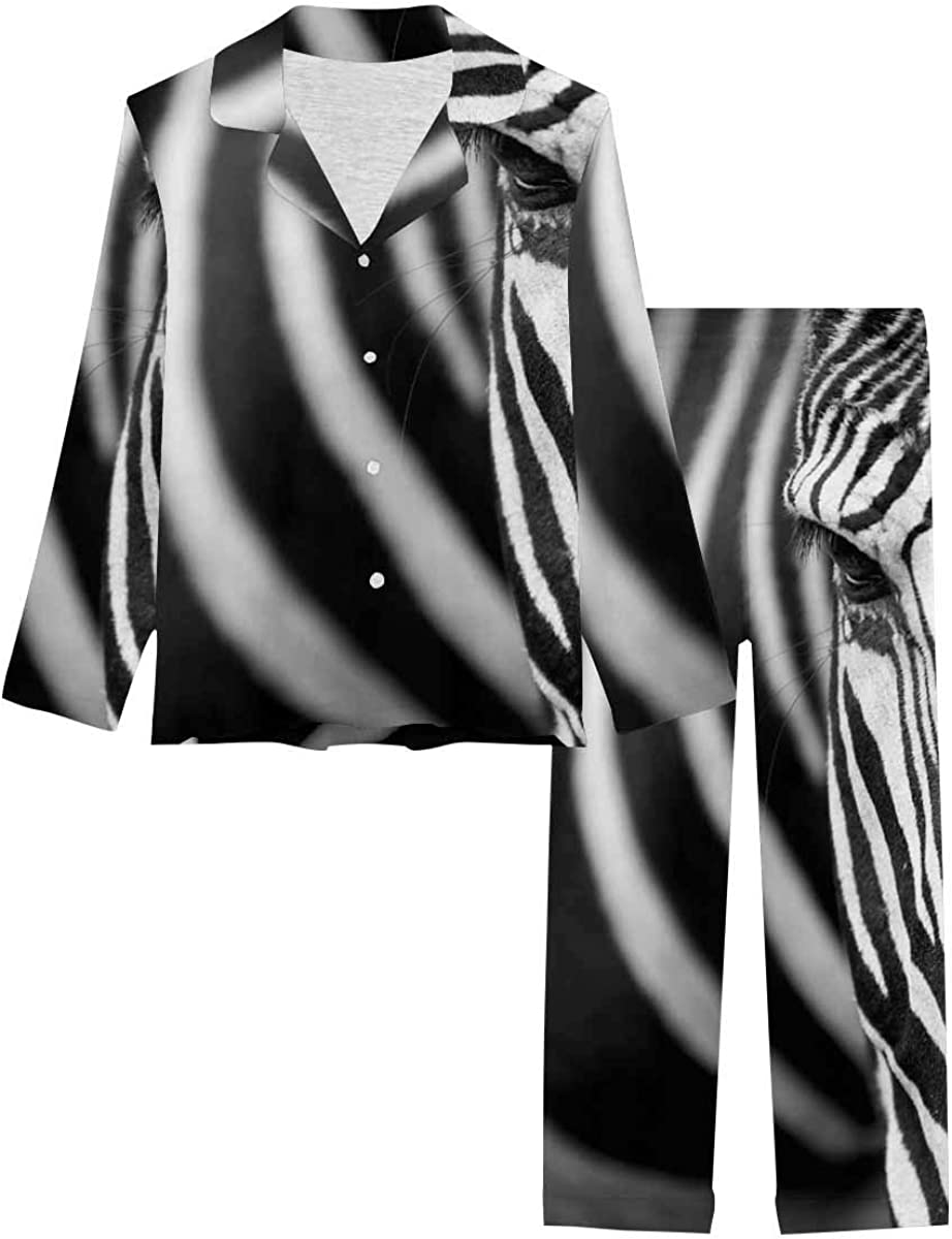 InterestPrint Long Sleeve Button Down Nightwear with Long Pants the Face of a Grevy's Zebra
