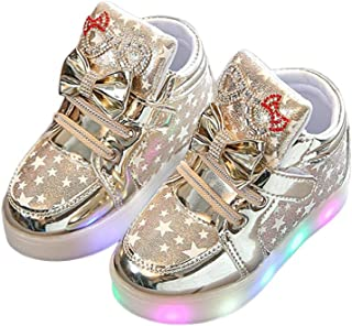 Jifutan Kids Baby Girls Boys Infant Girls Crystal Bowknot LED Luminous Sports Sneakers Infant LED Light Up Running Casual Shoes
