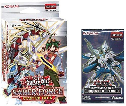 KOMAMI YuGiOh Factory Sealed Saber Force Starter Deck 1st Ed + Free Booster Pack