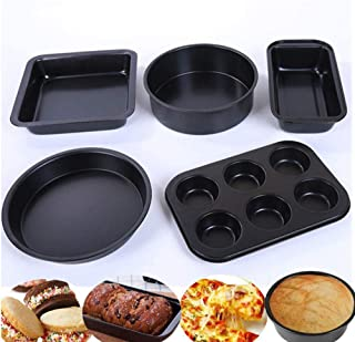 Beauenty Nonstick Bakeware Set with Grips includes Nonstick Bread Pan, Baking Pan, Cookie Sheet and Cake Pans-5pcs