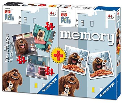 Secret Life of Pets – Multipack Memory + 3 Puzzles (Ravensburger 06872), Couleur/modèle Assorti