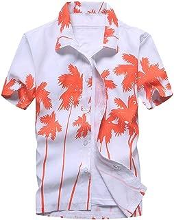 AiWoo dress Men's Summer Hawaiian Shirts Single Breasted Light Beach Shirts Short Sleeve Breathable Shirts