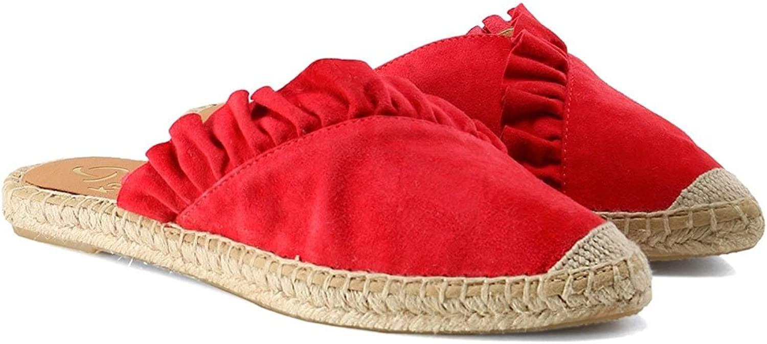 KANNA Women's Dyna Leather Ruffle Espadrilles Red