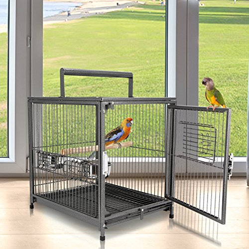 Jaula para Pájaro Metálica Espaciosa para Loros Interior o Exterior con 4 Puertas 2 Comederos Inoxidables Desmontable Fácil de Transportar 45,7x35,5x56 cm