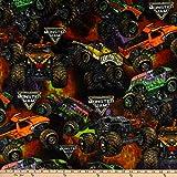 trucks fabric - Monster Jam Packed Monster Trucks Fleece Fabric by the Yard
