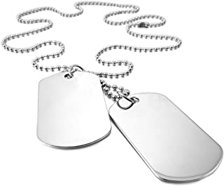SODIAL 2 PCS Alloy Pendant Necklace Pendant Silver Double Dog Tag plate Army Biker Chain Necklace Man, Woman