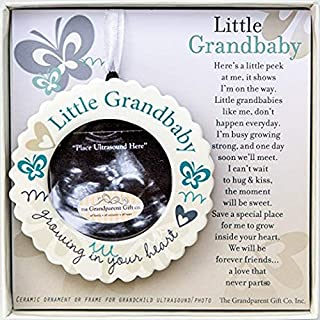 Little Grandbaby Growing In Your Heart Ultrasound Photo Ornament and Poem (Ornament Boxed w/ Poem)