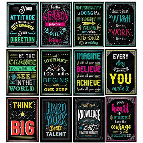 Posters Motivational Quotes,Motivational Wall Art,Motivational Poster for Classroom, Office, School, Home. - 12 Pcs (Style-A)