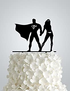 Acrylic Wedding cake Topper inspired by Superman and Wonder woman
