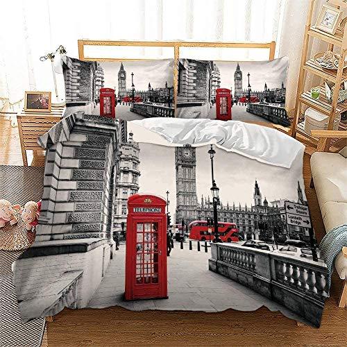 zzkds Londres, Famosa Cabina telefónica y los símbolosdelBig BenJuego de Fundas de edredónRojoJuego de sábanas de 3 Piezas, Tema Retro del Reino Unido