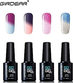 Girdear 4Pcs Gel Nail Polish Soak Off Thermal Temperature Changing Colour UV LED Maniure Gift Set Nail Lacquer Art Kit C003