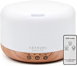 ASAKUKI Essential Oil Diffuser with Remote Control, 1000ml Cool Mist Humidifier, Large 1 Liter Vaporizer Lasts 16 Hours Aroma Diffuser with Waterless Safety Switch & 14 LED Colors