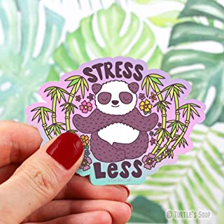 Self Care Sticker, Stress Less, Panda, Meditation Decal, Calm, Soothing, Zen Garden, for Water Bottle