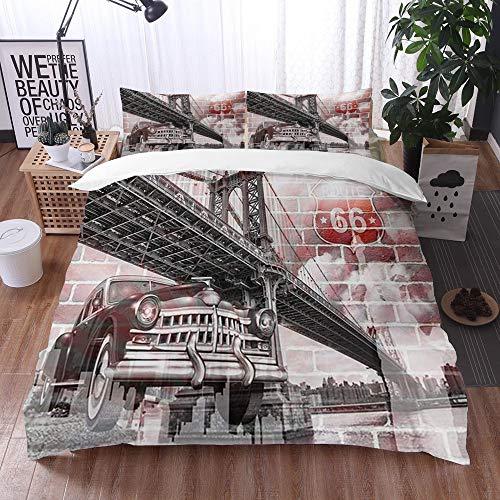 Mingdao Bedding Juego de Funda de Edredón -Puente de Brooklyn y Coches clásicos y Pared de ladrillo para Mural,/Microfibra Funda de Nórdico (Cama 200 x 200 cm + Almohada 50X80 cm)