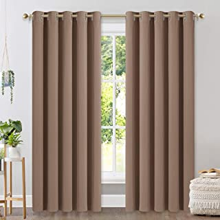 NICETOWN Window Draperies Blackout Curtain Panels, Window Treatment Thermal Insulated Solid Grommet Blackout Drapes for Bedroom (One Pair, 70 by 84 inches, Cappuccino)