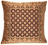Kashmir Handicrafts Indische Seide Deko Kissenbezüge 40 cm x 40 cm (Schwarz), Extravaganten Design für Sofa & Bett Dekokissen, Kissenhülle aus Indien. ***Angebot nur für Kurze Zeit gültig***